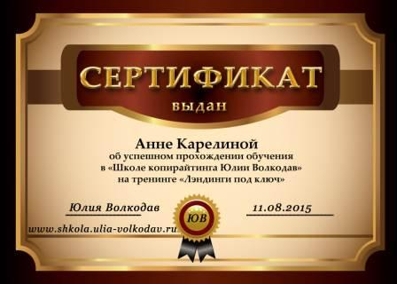 сертификат лендинги под ключ
