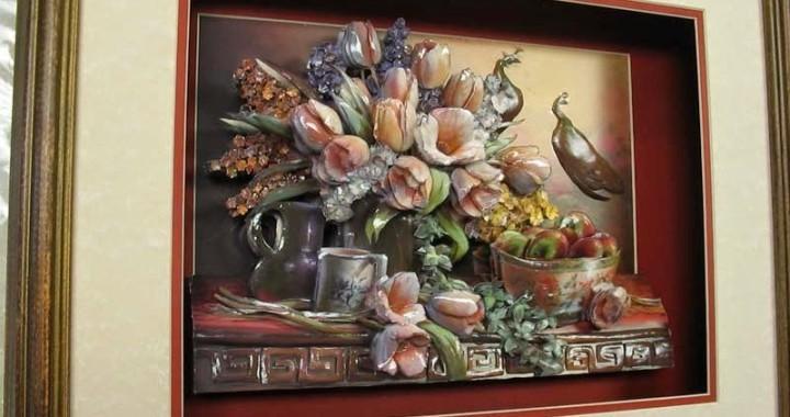 объёмные картины папертоль, цветы, букет, из бумаги